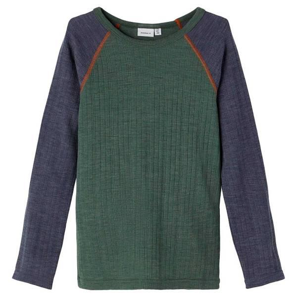 Bilde av Name It Wang Wool needle trøye kids - duck green